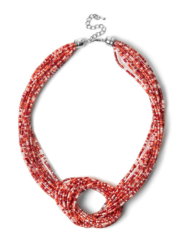 Coral Seed Bead Necklace, Coral, hi-res