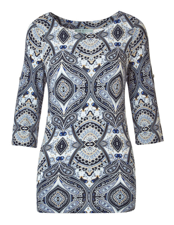 Blue Paisley Roll Sleeve Top, Blue, hi-res