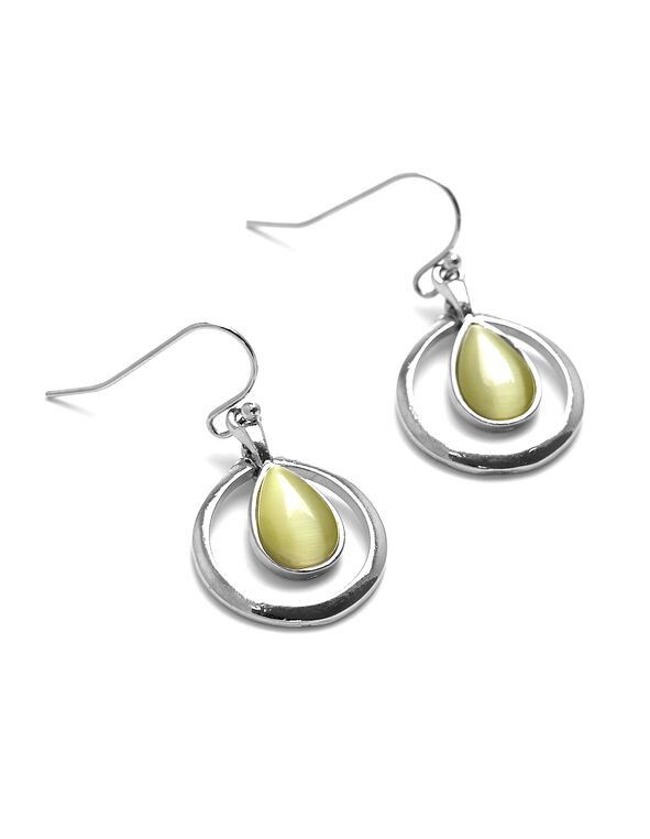 Yellow Cat Eye Earring, Yellow, hi-res