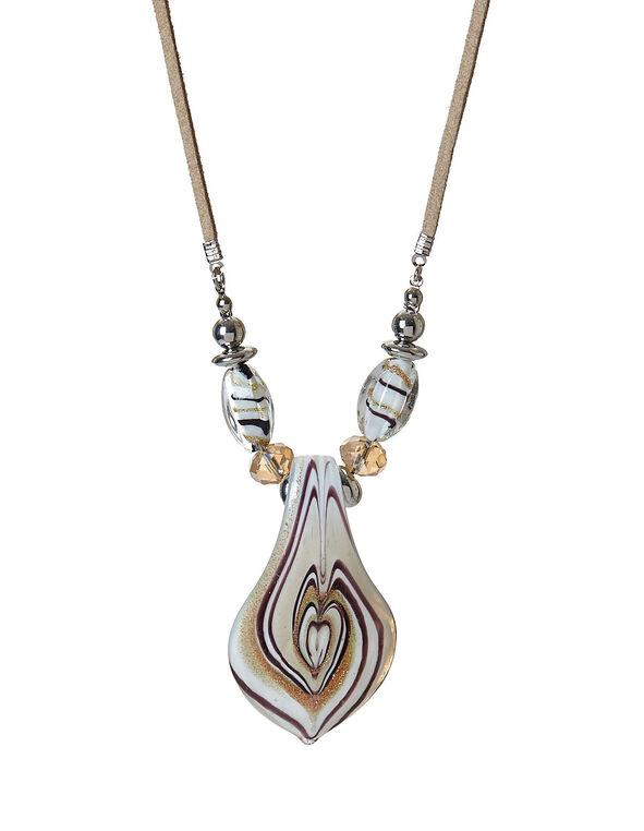 Murano Glass Twirl Necklace, Tan, hi-res
