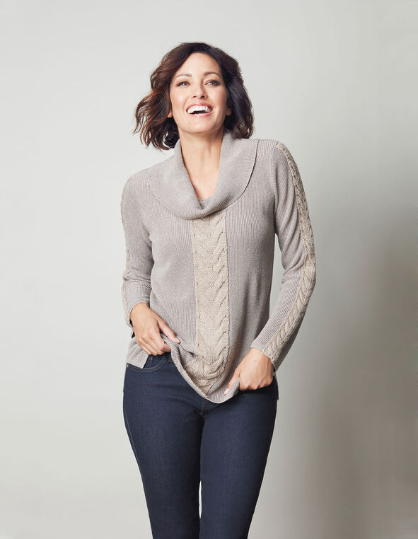 Oat Marilyn Neck Cable Sweater, Oat Mix, hi-res