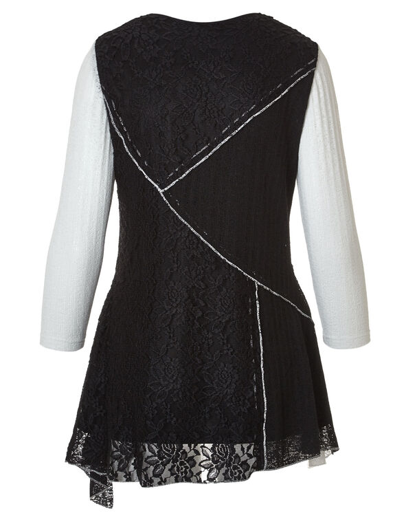 Lace Mixed Media Tunic, Black/Ivory, hi-res