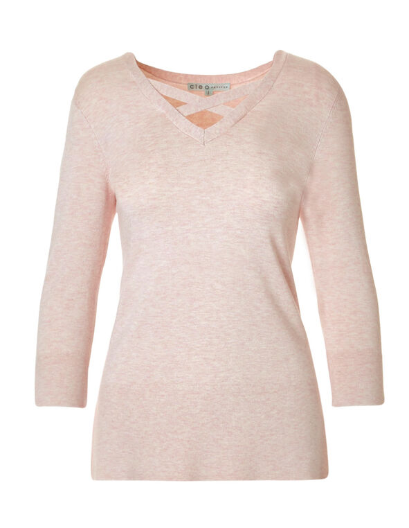 Blush Criss Cross Neckline Sweater, Soft Blush, hi-res