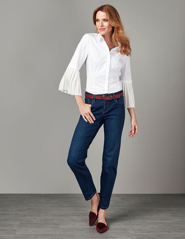 White Chiffon Sleeve Structured Blouse, White, hi-res