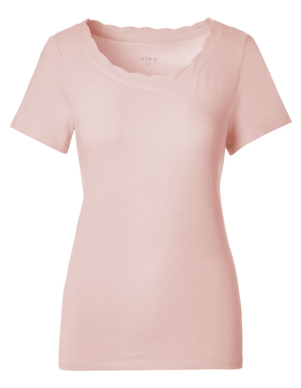 Seashell Pink Scalloped Tee, Seashell Pink, hi-res