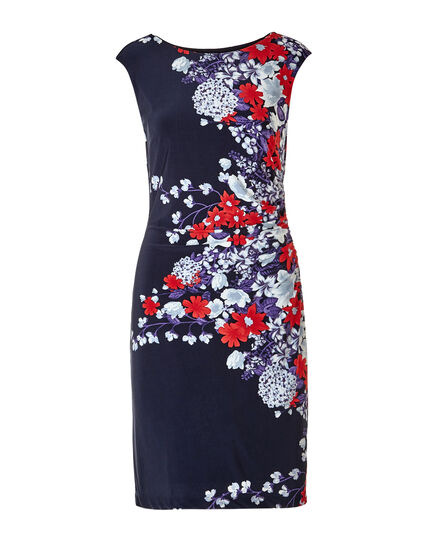 Blue Floral Shift Dress, Blue/Red/Purple, hi-res