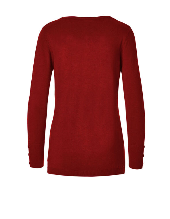 Winter Red V-Neck Sweater, Winter Red, hi-res