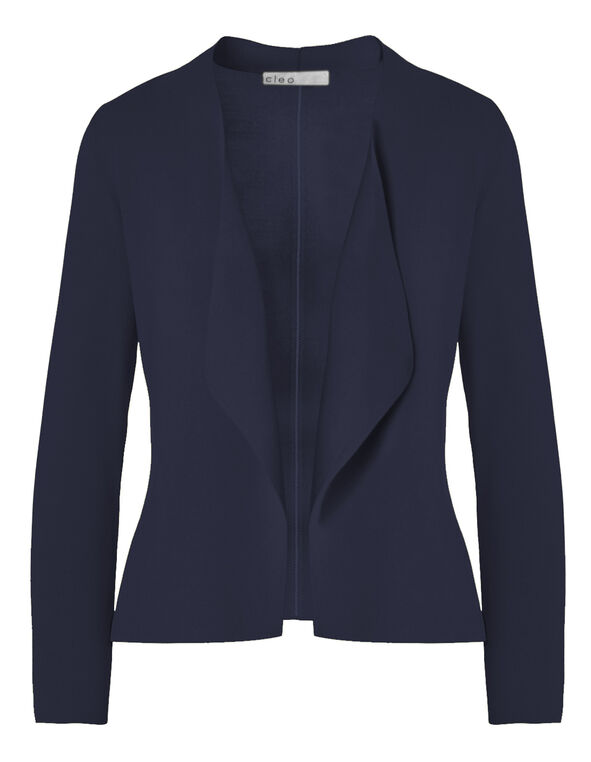 Navy Crepe Open Mid Cardigan, Navy, hi-res