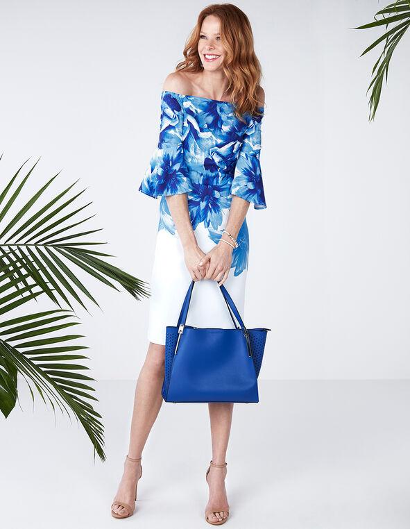 Blue Floral Off Shoulder Dress, White Print, hi-res
