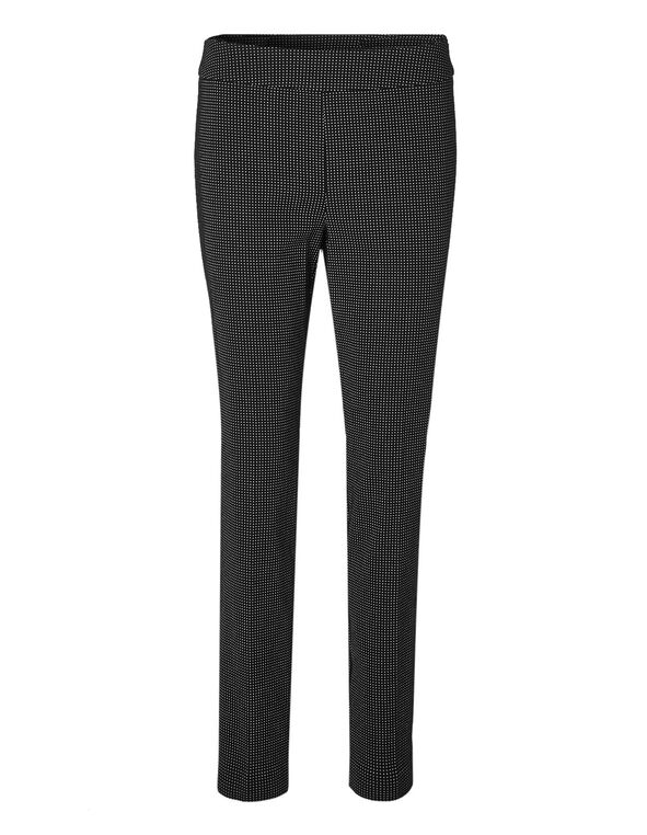 Cleo Signature Dotted Slim Pant, Black/White, hi-res