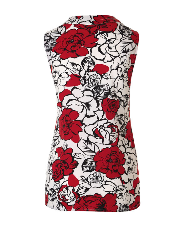 Red Floral V-Neck Blouse, Ivory/Red/Black, hi-res