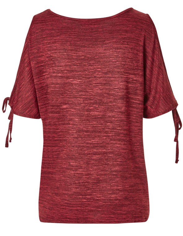 Heathered Red Elbow Sleeve Top, Red, hi-res