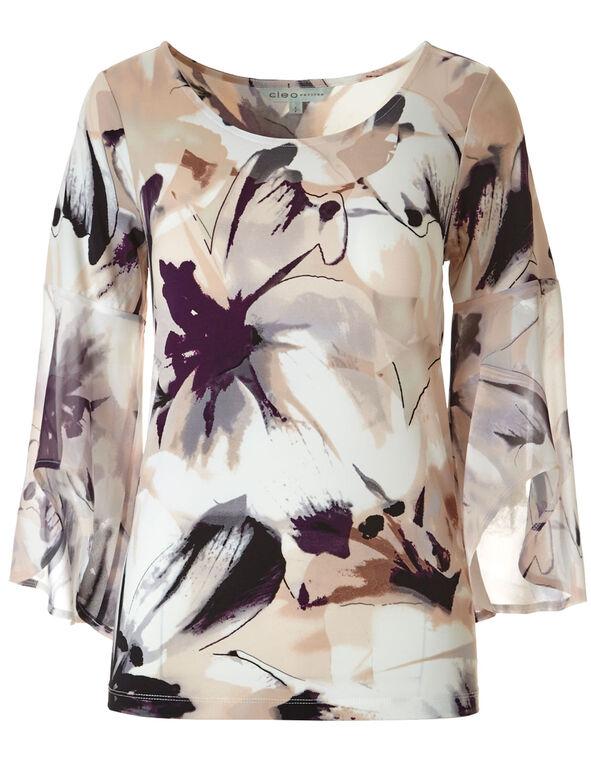 Ivory Printed Bell Sleeve Top, Ivory/Seashell Pink, hi-res