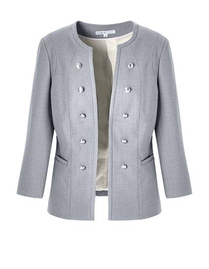 Birdseye Military Blazer, Grey, hi-res