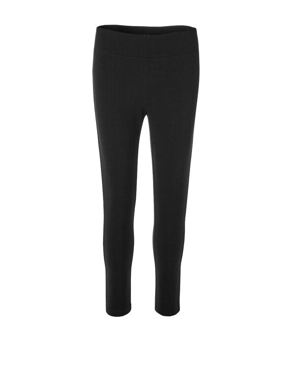 Black Cotton Capri, Black, hi-res
