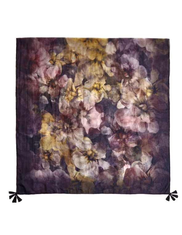 Purple Floral Tassel Scarf, Purple/Saffron/Dusty Pink, hi-res