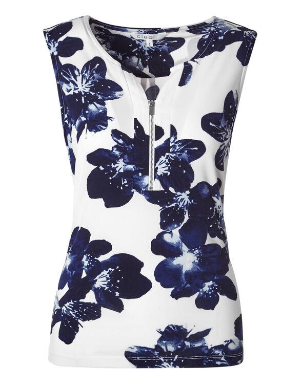 Navy Floral Zip Top, White/Navy Floral, hi-res