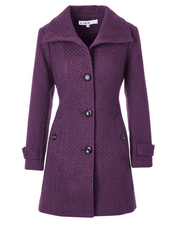 Purple Basket Weave Coat, Raspberry, hi-res