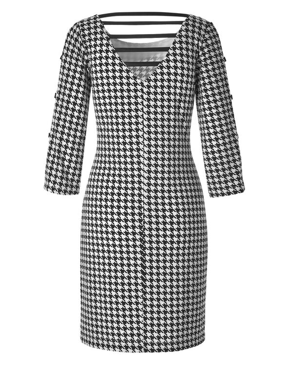 Houndstooth Open Sleeve Dress, Black/White, hi-res