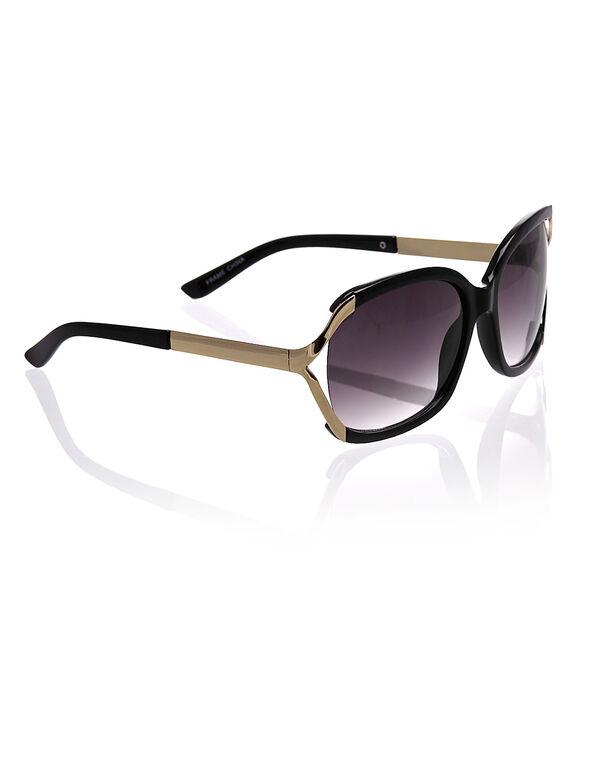 Black Round Frame Sunglasses, Black, hi-res