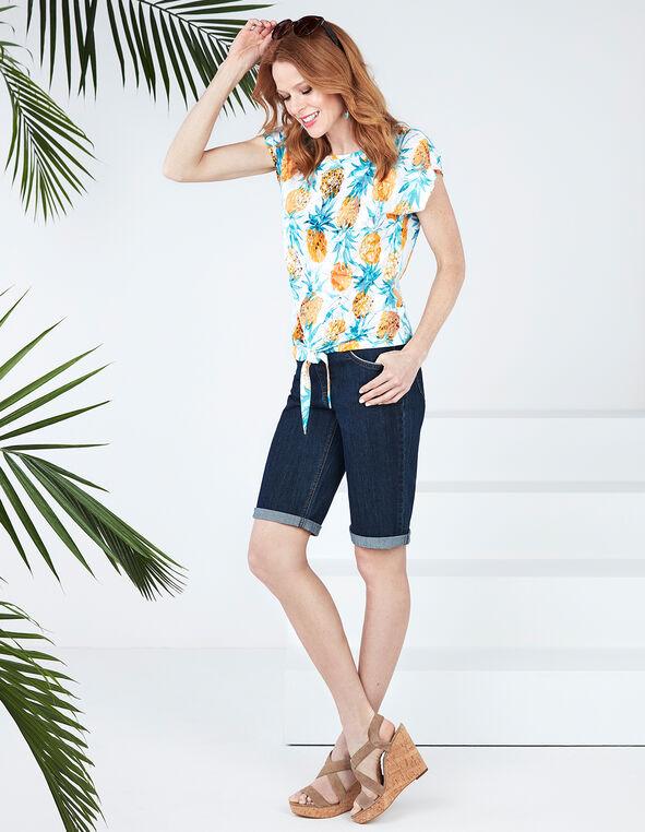 Pineapple Tie Tee, Pineapple Print, hi-res