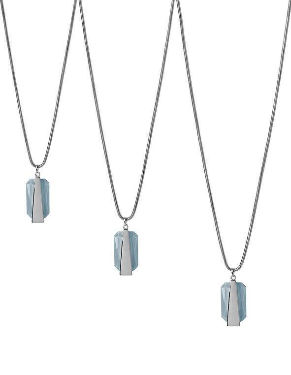 Light Blue Stone Adjustable Necklace, Light Blue, hi-res
