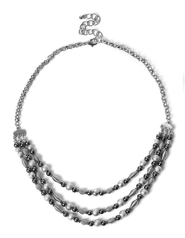 Silver & Hematite Beaded Necklace, Silver/Hematite, hi-res