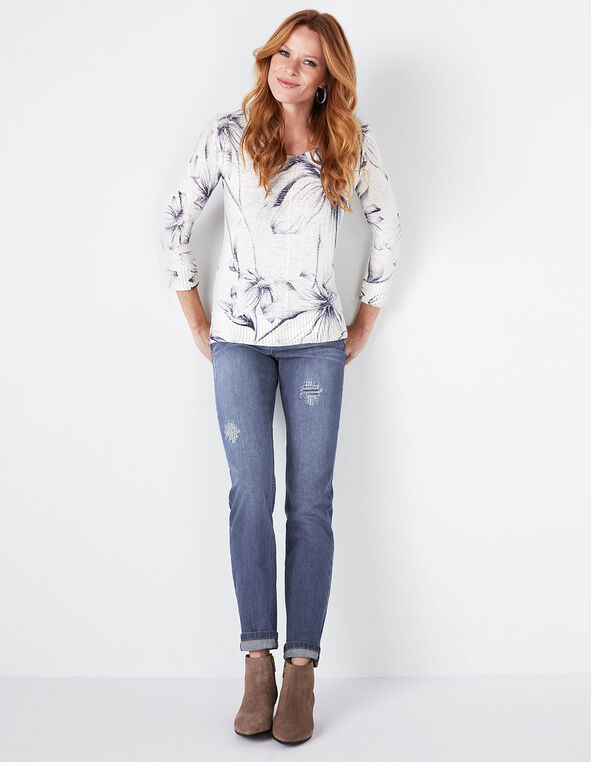 Navy Floral Sweater, Ivory, hi-res