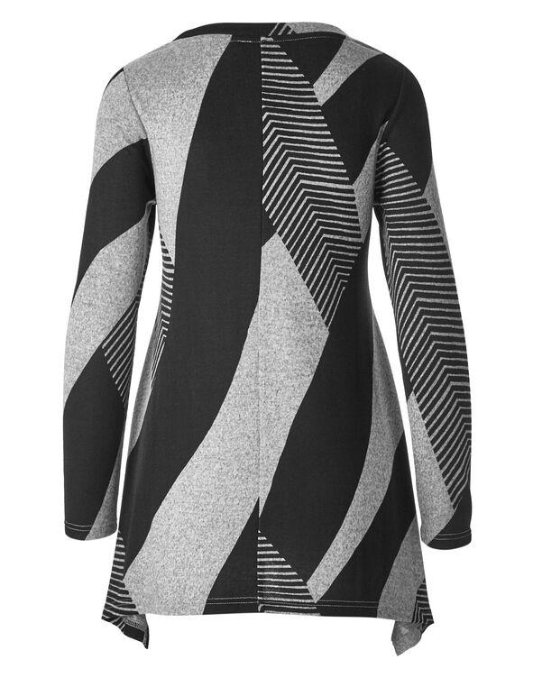 Black Colour Block Tunic Top, Black/Grey, hi-res