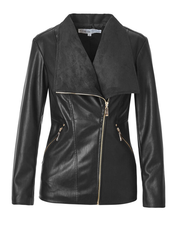 Black Suede Faux Leather Jacket, Black, hi-res