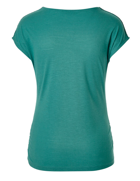 Turquoise Crochet Neckline Top, Turquoise, hi-res