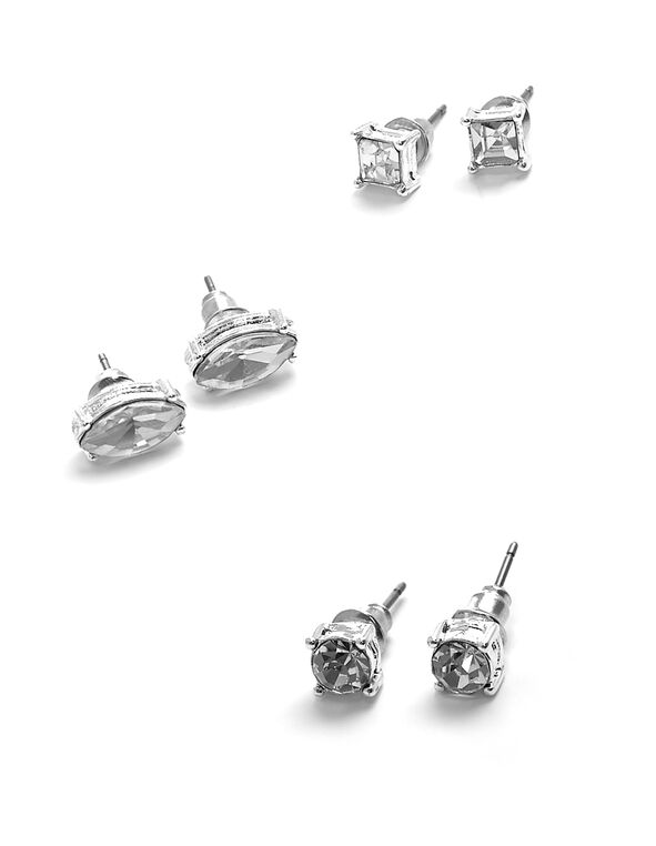 Silver Crystal Trio Earring Set, Silver, hi-res