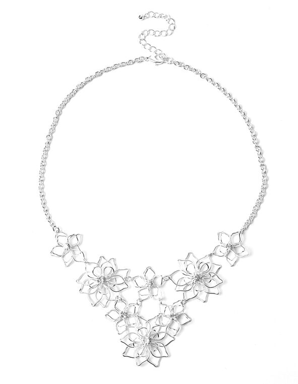 Silver Flower Statement Necklace, Silver, hi-res