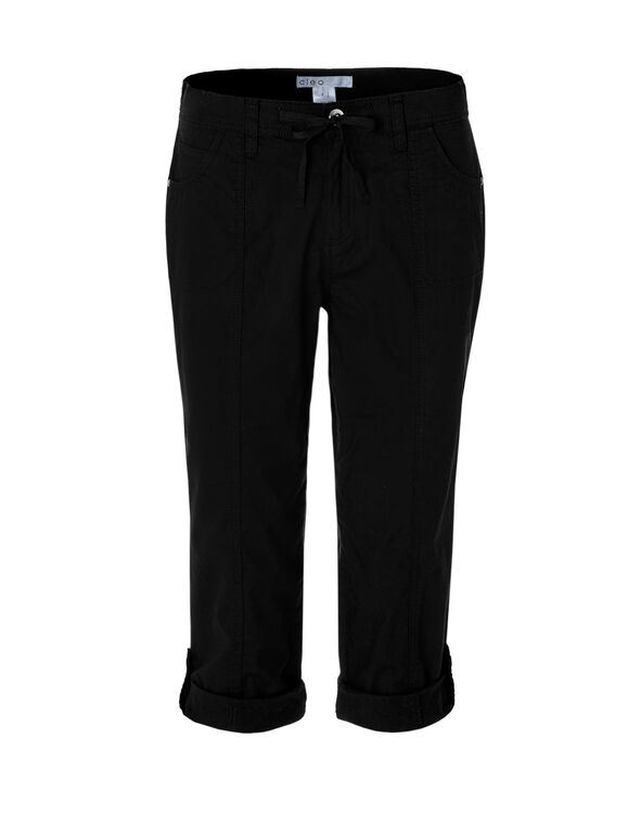 Black Poplin Roll Up Capri, Black, hi-res