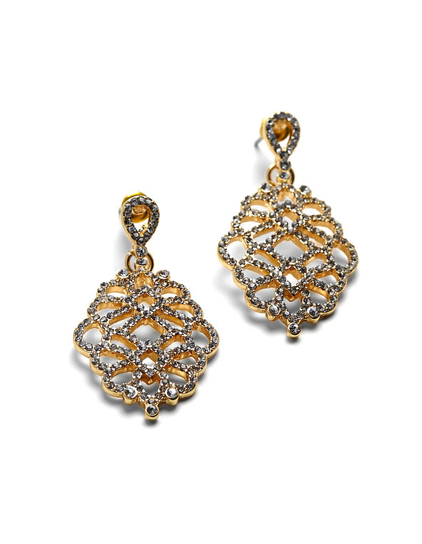 Gold Crystal Drop Earring, Gold, hi-res