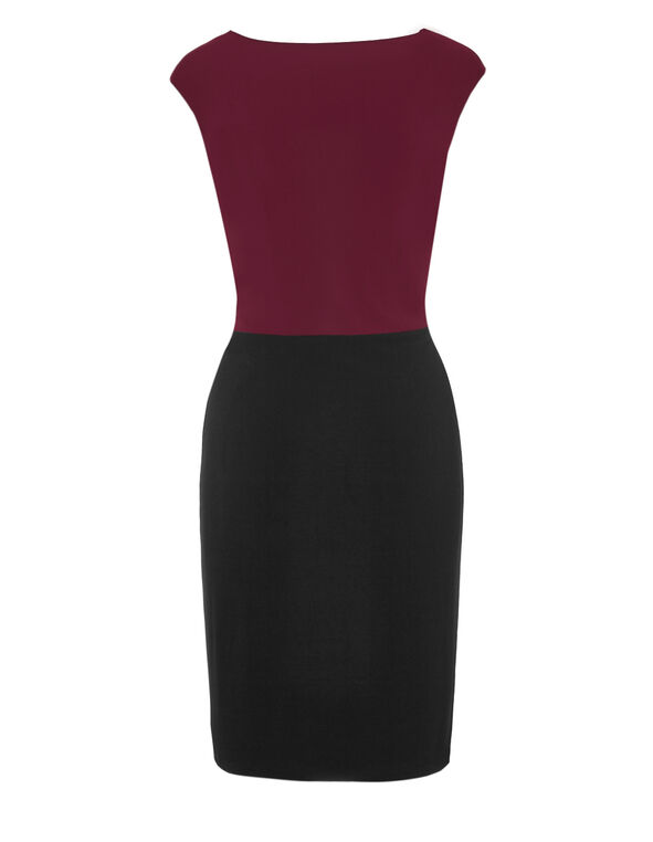 Claret Colour Block Dress, Black/Claret, hi-res