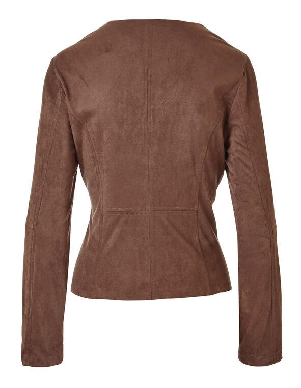 Brown Faux Suede Open Jacket, Brown, hi-res