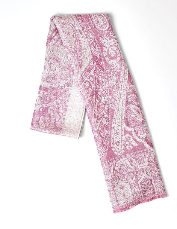 Pink Paisley Lurex Scarf, Pink, hi-res