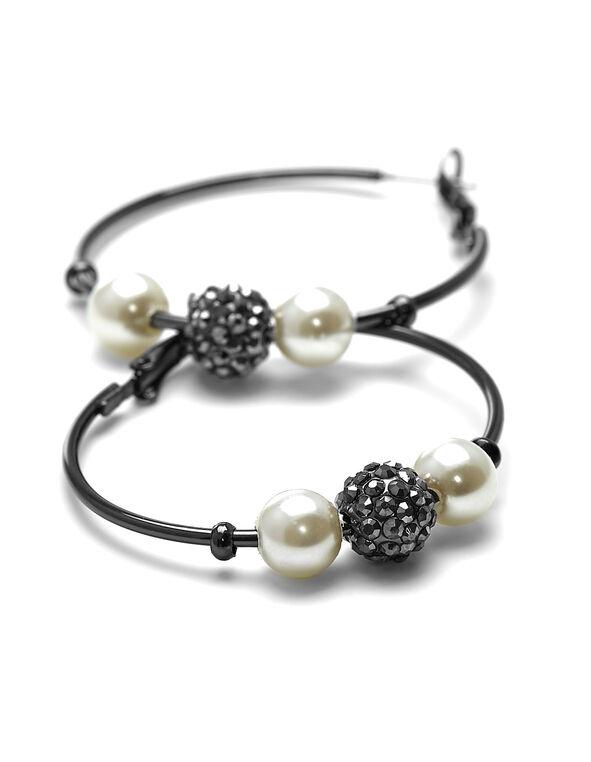 Hematite Pearl Hoop Earring, Hematite, hi-res