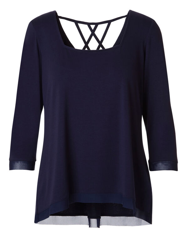 Navy Square Neck Top, Navy, hi-res