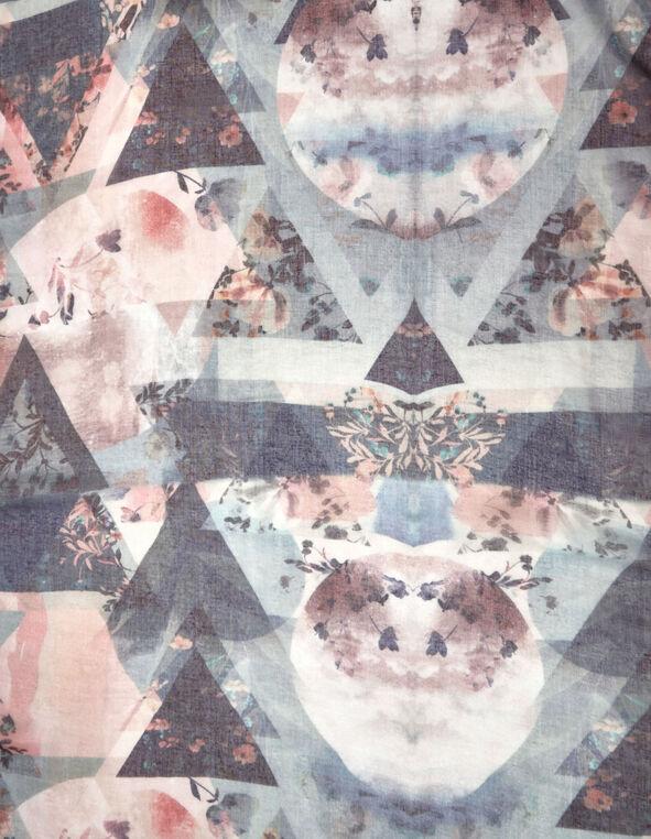 Floral Oblong Scarf, Pink/Blue, hi-res