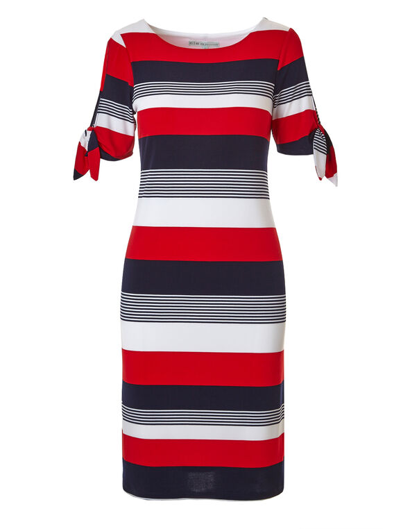 Striped Tie Sleeve Shift Dress, Red Stripe, hi-res