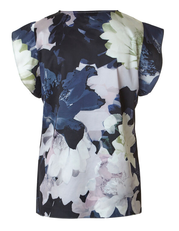 Orchid Printed Flutter Sleeve Blouse, Orchid Print, hi-res