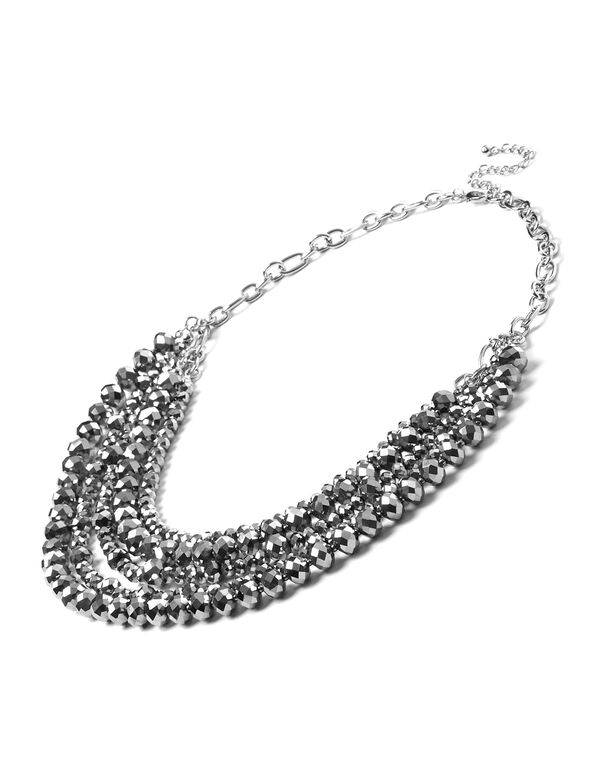 Hematite Faceted Beaded Necklace, Hematite, hi-res