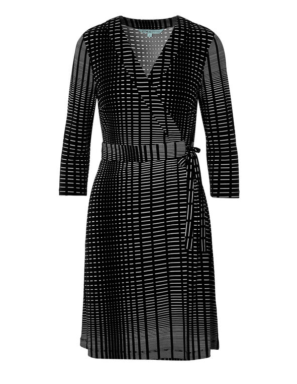 Black Print Wrap Dress, Black/White, hi-res
