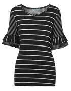 Black Striped Flutter Sleeve Top, Black Stripe, hi-res