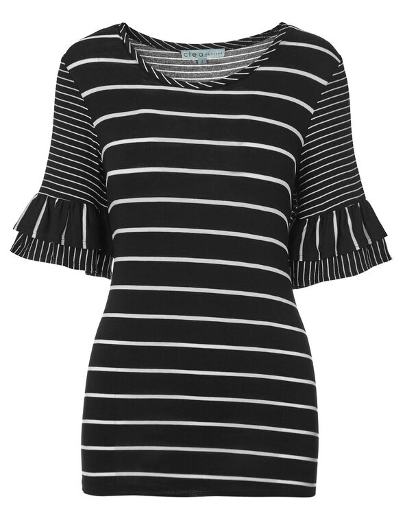 Black Striped Flutter Sleeve Top, Black Stripe, hi-res