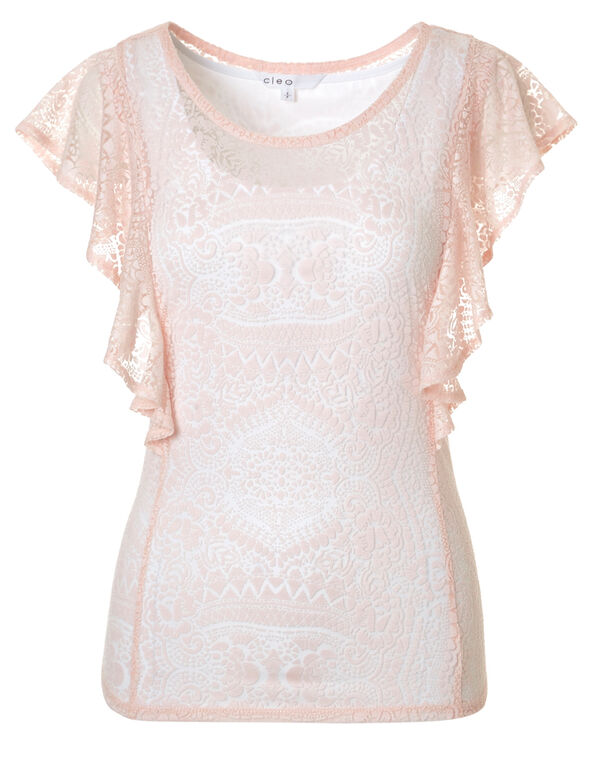 Seashell Sheer Burnout Top, Seashell Pink, hi-res