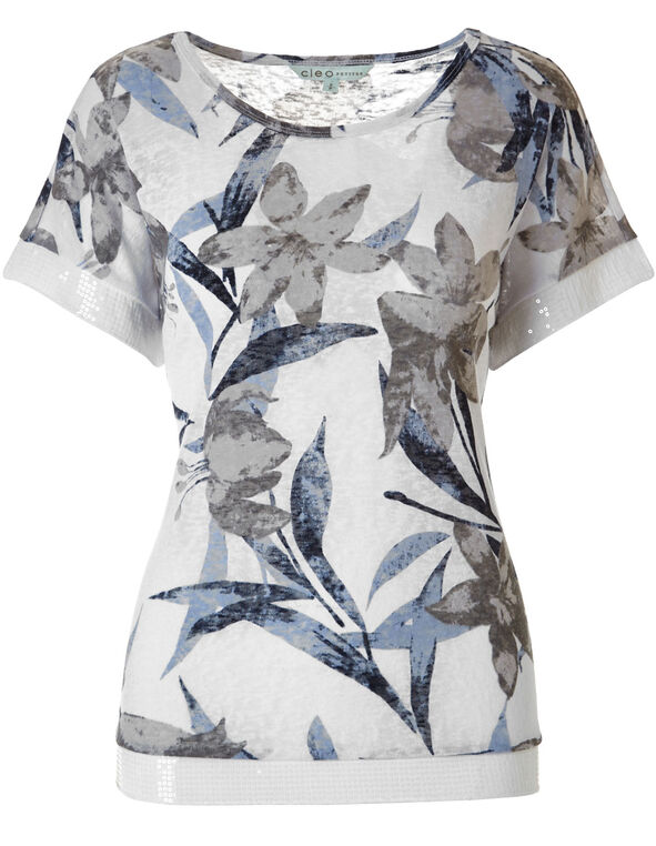 Blue Printed Sequin Hacchi Top, White/Blue, hi-res