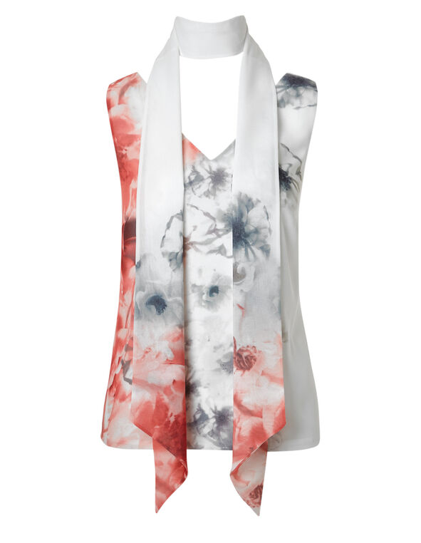 Printed Removable Scarf Blouse, White/Coral, hi-res